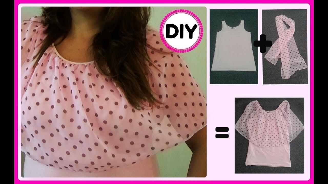???? DIY: De camiseta a Blusa hermosa con volante trasparente ????
