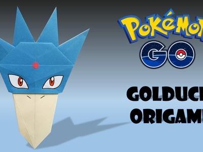 Golduck Origami (head)-origami pokemon Golduck-como hacer origami pokemon Golduck (head).