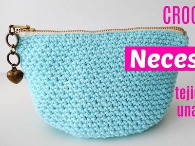 Neceser de crochet tejido en una sola pieza y cremallera incorporada