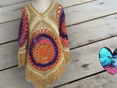 Poncho Tejido a Crochet facil paso a paso