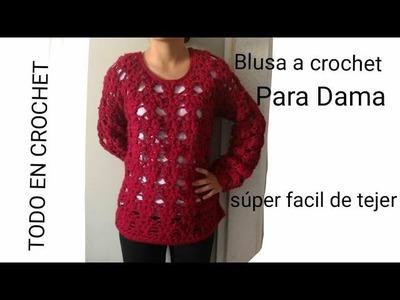 Tutorial de Blusa a crochet super facil - punto fuente a crochet. parte#2