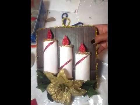 Adorno navideño.Velas con tubos de papel muy fácil. Christmas candles with cardboard tubes
