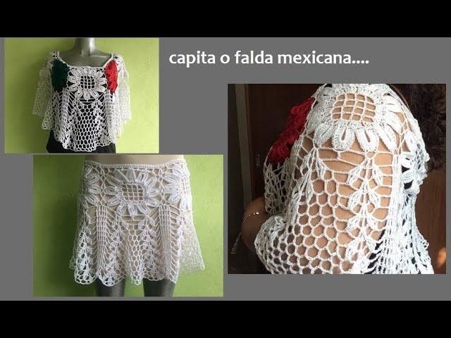 Capita o falda Mexicana con girasoles 2017
