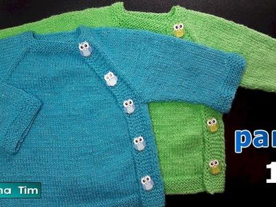 CHAQUETA Ranglan con botones para bebes. PARTE 1 Tejido con dos agujas # 616