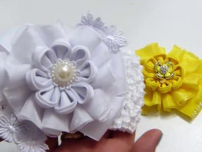 Como hacer flores de liston, Ribbon petals Kanzashi