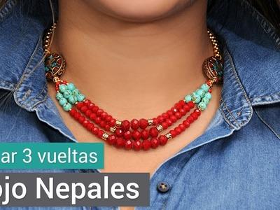 Cómo hacer un Collar tres vueltas rojo Nepalés - Variedades y Fantasías Carol