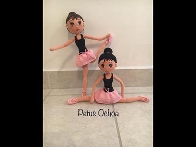 Como tejer brazos  muñeca Bailarina amigurumi By Petus PRIMERA PARTE 1.5