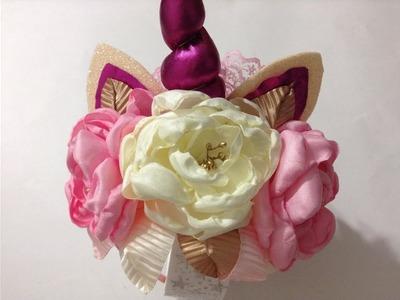 Diadema de unicornio con hermosas flores VIDEO No.477creacionesrosaisela