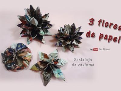 DIY 3 flores de papel fácil y rápido  –  DIY 3 paper flowers easy and fast
