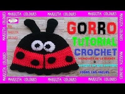 DIY Cómo hacer un Gorro de la Mariquita de la Suerte a Crochet por Maricita Colours