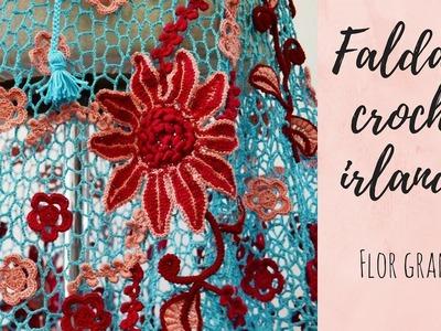 Falda en crochet irlandés: Flor grande paso a paso - Tejidos Circulos