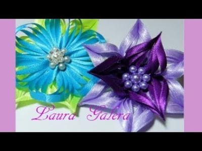 Flor calada en cintas  Ribbon flower  Flor de fita  Цветок ручной работы