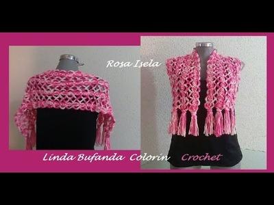 Linda Bufanda Colorín tejida a gancho
