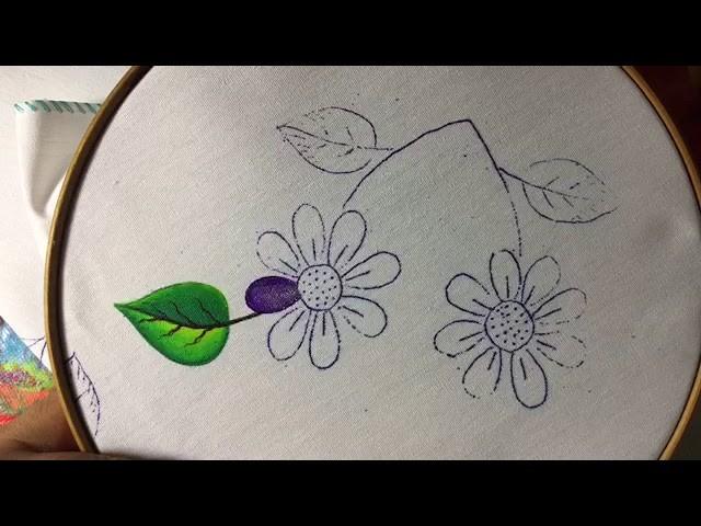 Pintura En Tela Florecita Con hojas Con Cony
