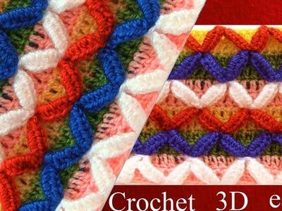 Puntos a Crochet en 3D rombos de colores tejidos tallermanualperu