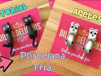 Aretes de gatito y perrito Porcelana fría. porcelanicron. pasta flexible