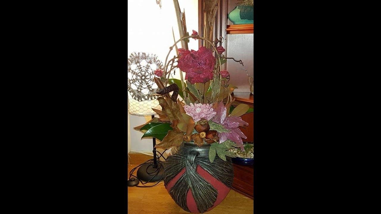 Como hacer una decoración floral en una tinaja, aprende con lola.
