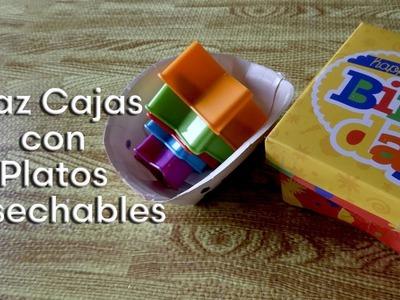 Como hacer unas cajas de regalo con platos desechables