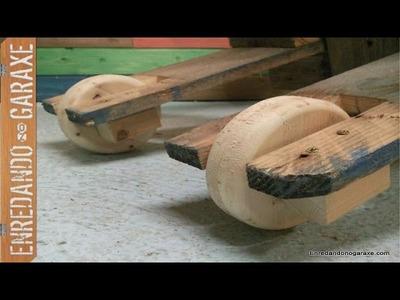 Como poner ruedas de madera a una silla de patio. How to install wheels in patio chair