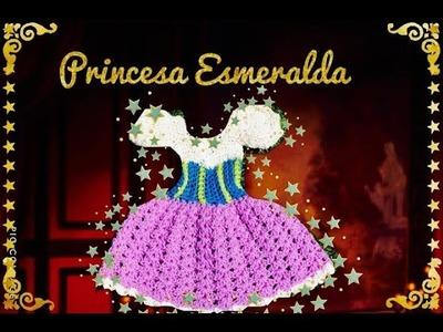 CROCHET  VESTIDITO de LA PRINCESA ESMERALDA de 1-3 MESES Tejiendo con Erica.!!!