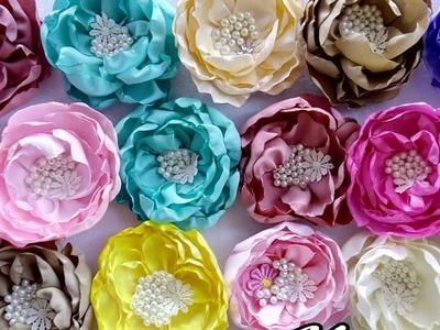 Decoración de flores con perlas y pedreria.flores de tela.tutoriales.Creactivate