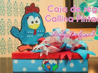 """Decoración sencilla en caja de madera """"Gallina Pintadita"""""""