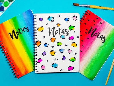 DIY: 3 IDEAS para decorar tus libretas con ACUARELAS super FÁCIL - REGRESO A CLASES