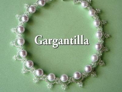 DIY  - Gargantilla - collar de perlas  y tupisDIY - Choker - pearl and tupis necklace
