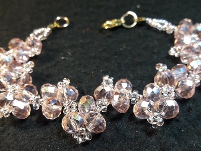 Elegante Pulsera de Cristales y Chaquiras. Clase #64!!!