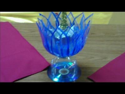 FLOR DE LOTO.LOTUS (Rosa del Nilo) CON BOTELLAS DE PLASTICO ,portavelas navideño,centro de mesa,etc