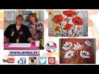 Flores espatuladas con acrílico profesional Principiantes-Adriana Chacón