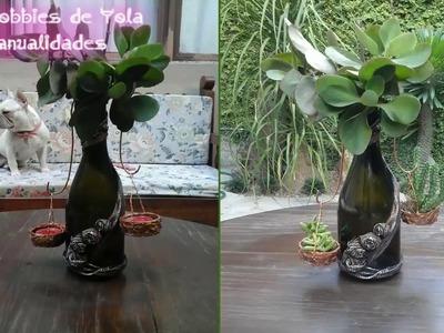 Jardin colgante con botella de vino. Los Hobbies de Yola ????????❤