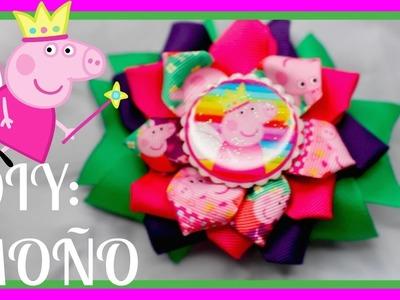 MOÑO 3 FLORES INSPIRADO EN PEPA PIG CON LISTON
