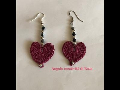 """Orecchini """"Cuoricini all'uncinetto""""per principianti.Crocheted hearts.corazones de ganchillo"""