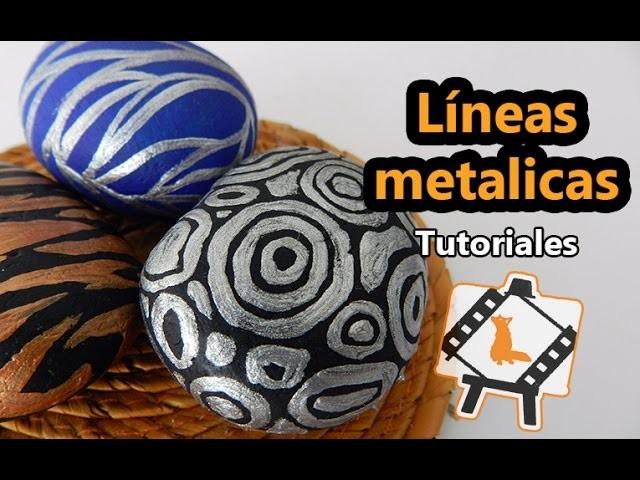 """Pintura en piedras """"Líneas metalicas"""".  Tutorial"""