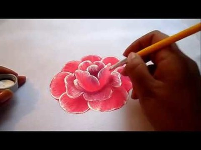 Pintura textil como pintar fácil una rosa, how to paint a rose easily