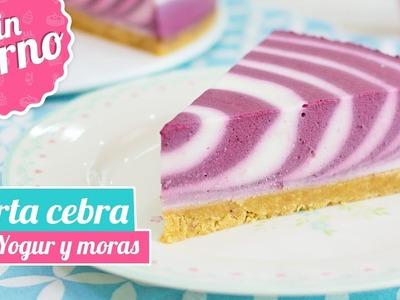 TARTA CEBRA DE YOGUR Y MORAS | Postre sin horno | Quiero Cupcakes!