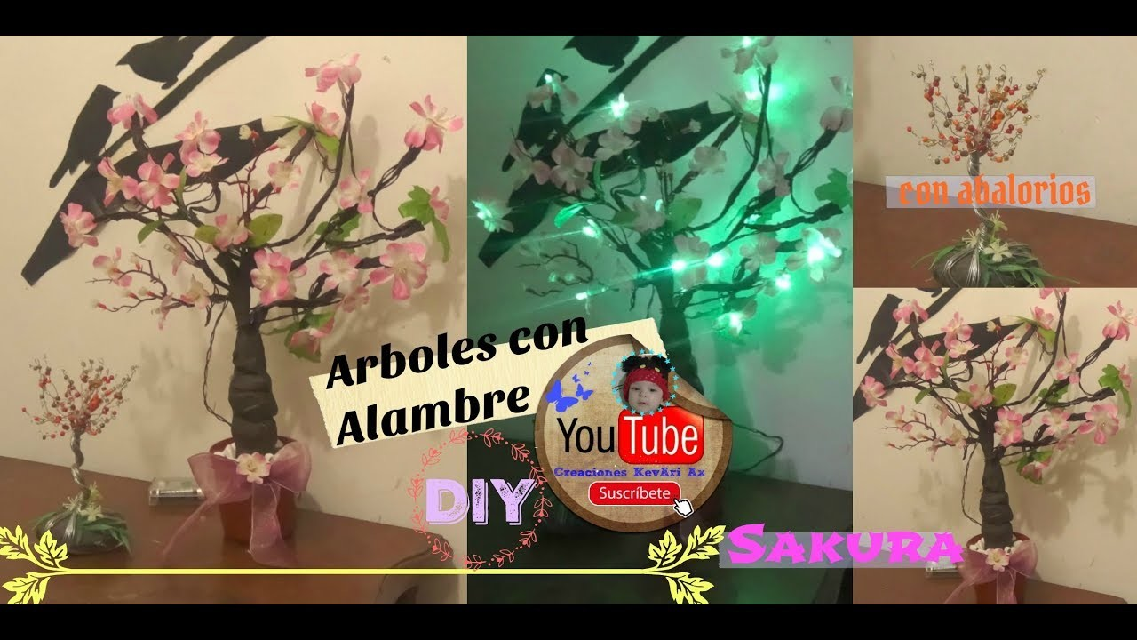 Árbol de Alambre 2 formas con abalorios y con luces Sakura(de cerezo).DIY Artificial Bonsai Tree