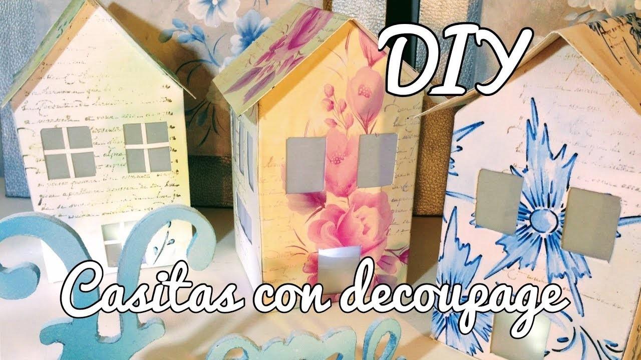 CASITAS CON DECOUPAGE ¡¡¡  DIY ¡¡¡con regalo incluido¡¡¡