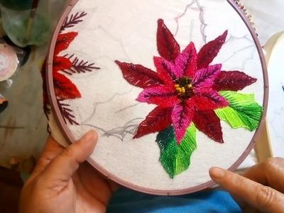 Como bordar hojas de nochebuena facilmente Sonia R.A.