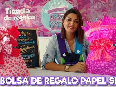 Como hacer  BOLSA DE REGALO PAPEL SEDA.GLOBO.CHINA Envoltura de regalo. wrapping paper