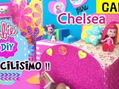 Como hacer CAMA para MUÑECAS Chelsea Barbie Reciclada muy FACIL! MANUALIDADES MUÑECAS