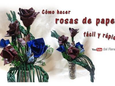 Cómo hacer rosas de papel, fácil y rápido - How to make paper roses, easy and fast