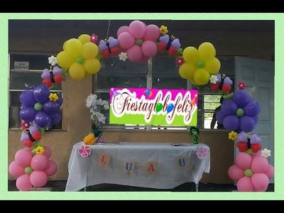 Como hacer un arco con flores fantasía sencilla  hechas de globos