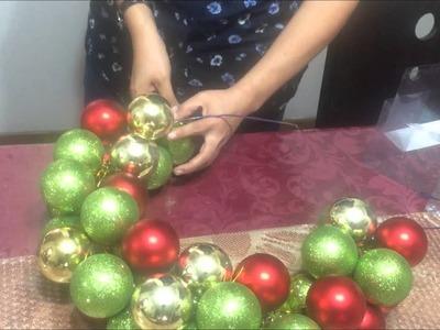 Como hacer una corona navideña con esferas