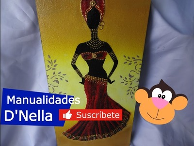 """Como Pintar Cuadro de Negrita Africana  con Yute 1 Parte ,By :""""Taller Nella 2017""""."""