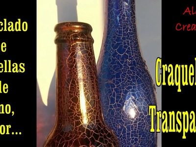 CRAQUELADO  (de 2 pasos) en botellas de vidrio(transparente y facilísimo)