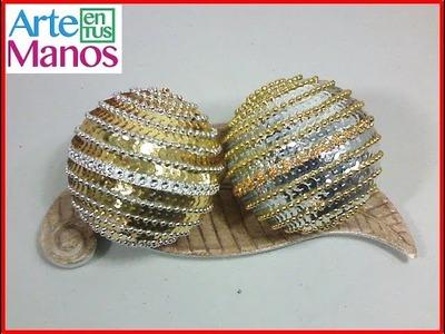 Esferas Navideñas con Lentejuelas y Perlas, Paso a paso