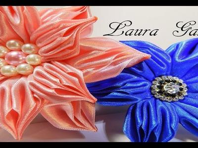 Flor drapeada en satén  Satin ribbon flower  Flor de fita