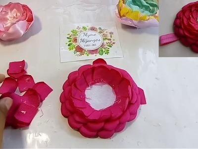 Flor elegante en listón popotillo. tutoriales. manualidades.cintillos.vinchas